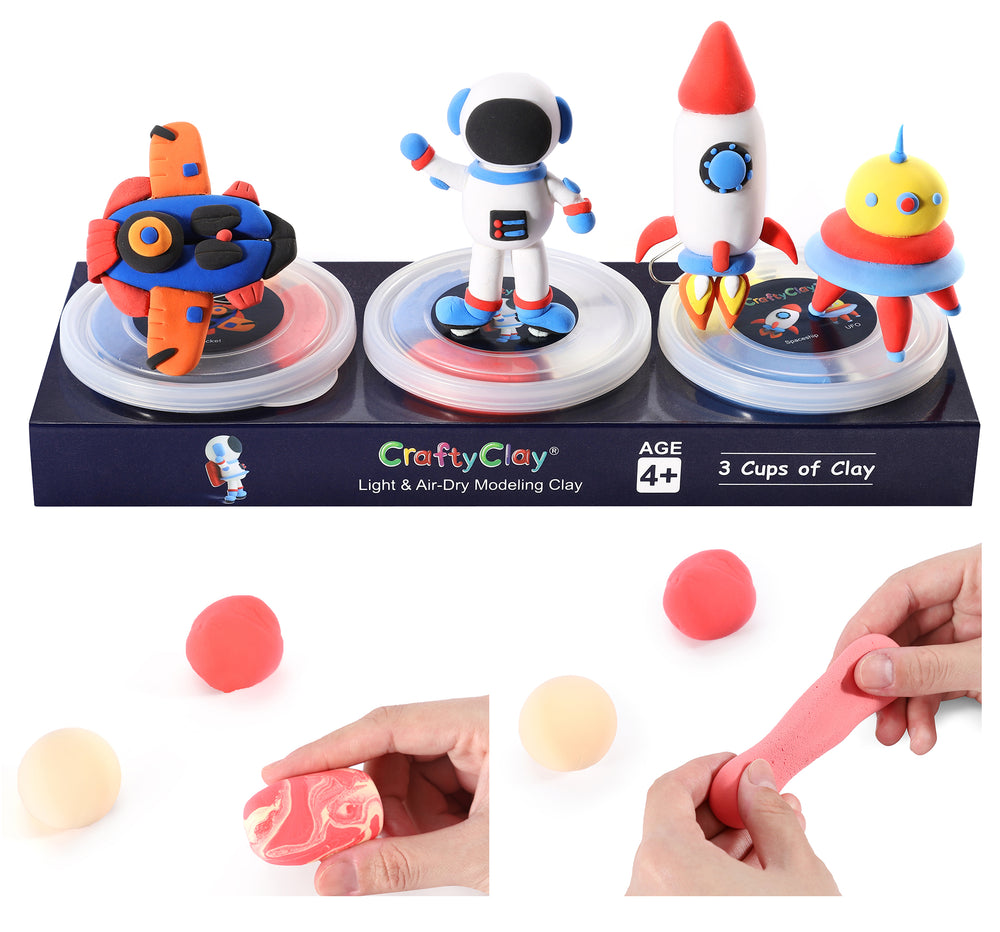The Spacecraft | 12 Color Premium Quality Air Dry Modeling Clay Kit for Kids | Improves Spatial Thinking Capacity | Odorless & Non-Sticky