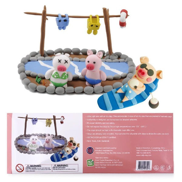 """PIGS PERFECT HOLIDAY"" Air Dry Modeling Clay Set for Kids - CraftyClay"