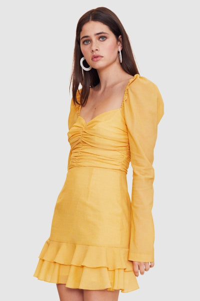 Vestire True Romance Mini Dress in Mustard