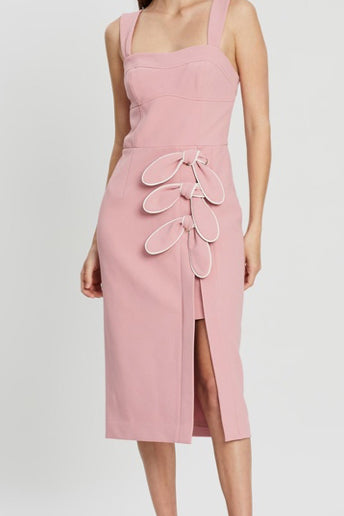 Rebecca Vallance Celeste Tie Midi Dress in Pink