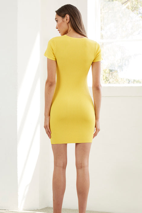 By Johnny Double Rib Mini Dress in Pollen Yellow