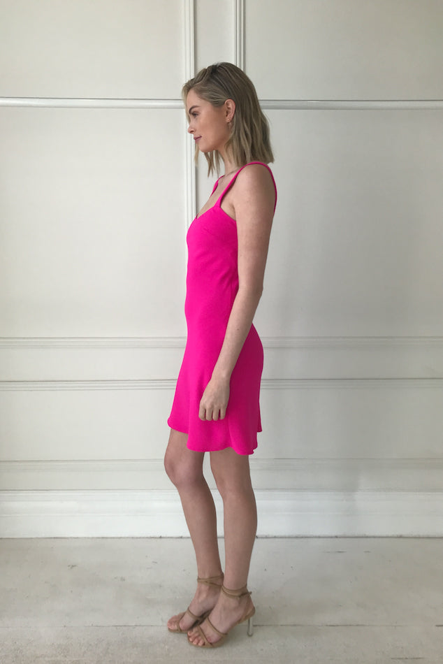 By Johnny Neon Bias Mini Dress in Neon Pink