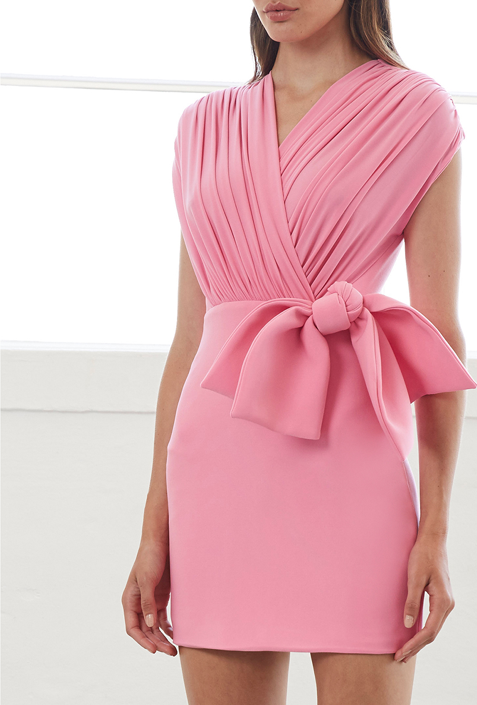 By Johnny Gloria Bow Drape Dress in Pink