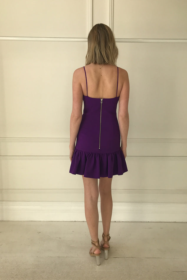 By Johnny Prince Gather Mini Dress in Price Purple