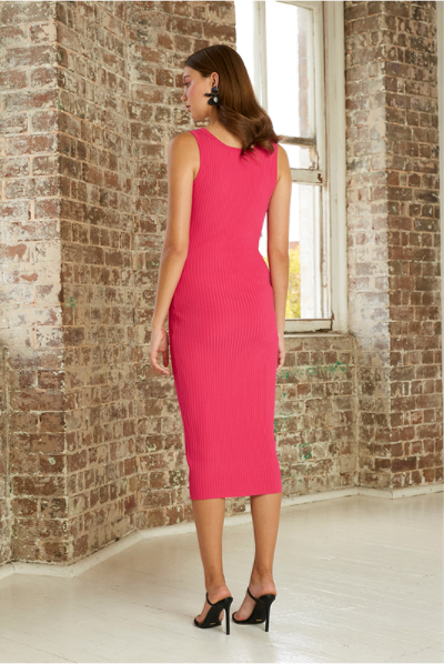 By Johnny Double Rib Scoop Midi Dress in Pink