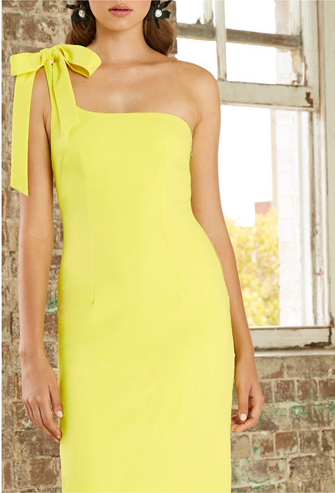 By Johnny Lean Midi Dress in Citrus Yellow