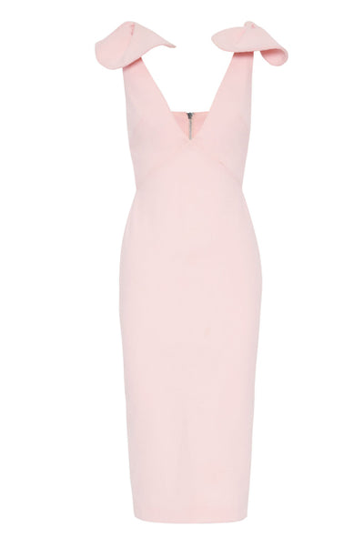 By Johnny V Plunge Bow Shoulder Midi Dress in Baby Pink