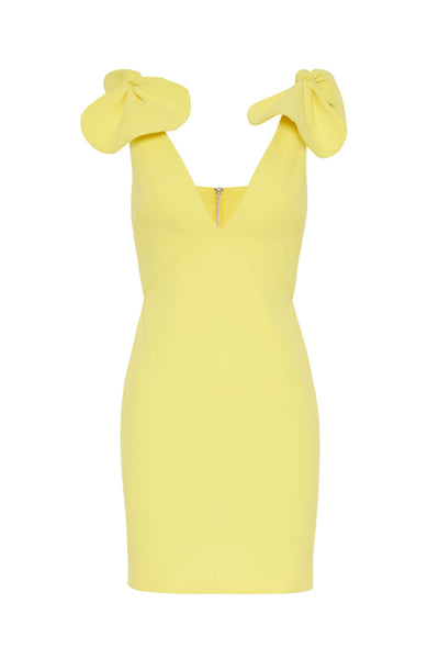 By Johnny V Plunge Bow Shoulder Mini Dress in Citrus Yellow