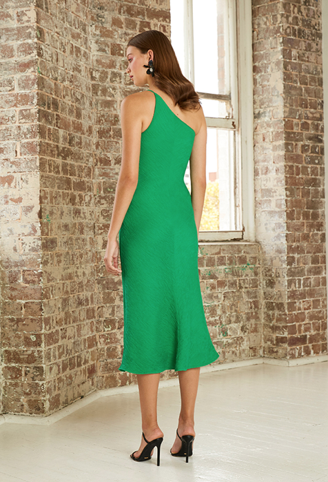 By Johnny Asymmetric Crimp Bias Midi Dress in Forest Green