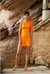 By Johnny Shell Shoulder Sleeve Mini Dress in Tangerine