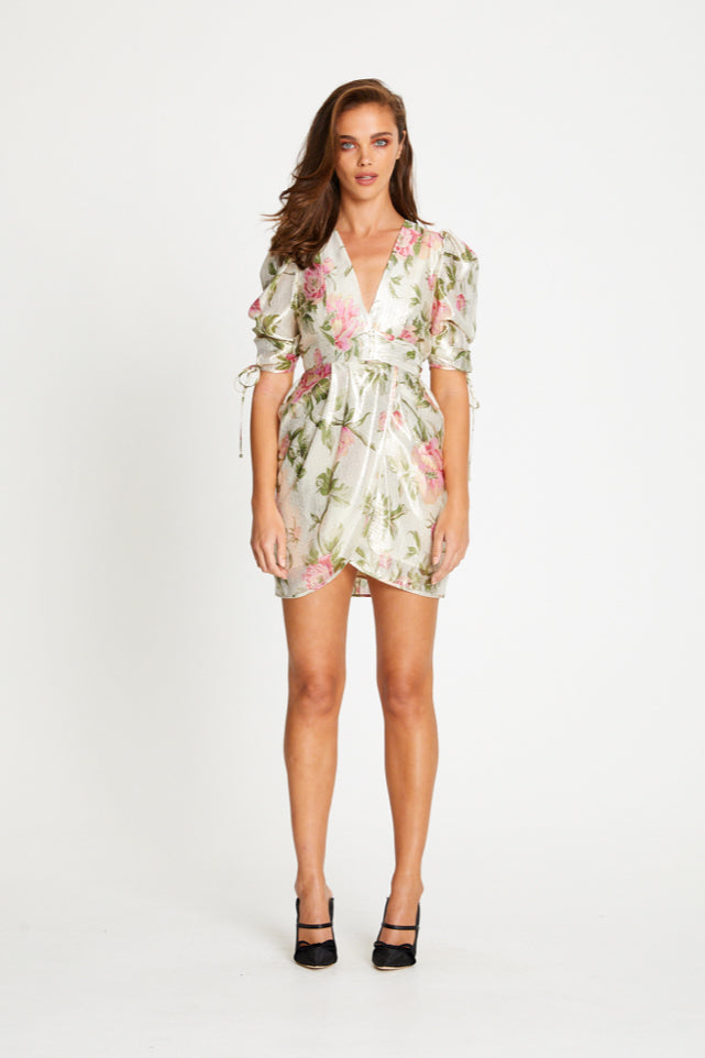 Alice McCall Salvatore Cap Sleeve Mini Dress in Metallic Floral