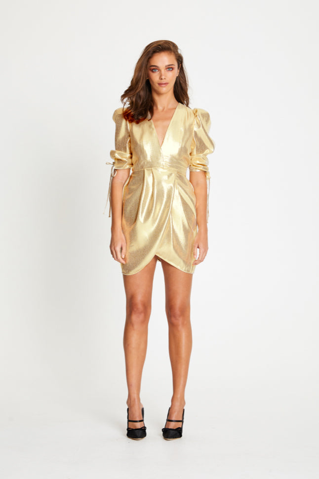 Alice McCall Astral Plane Cap Sleeve Mini Dress in Gold