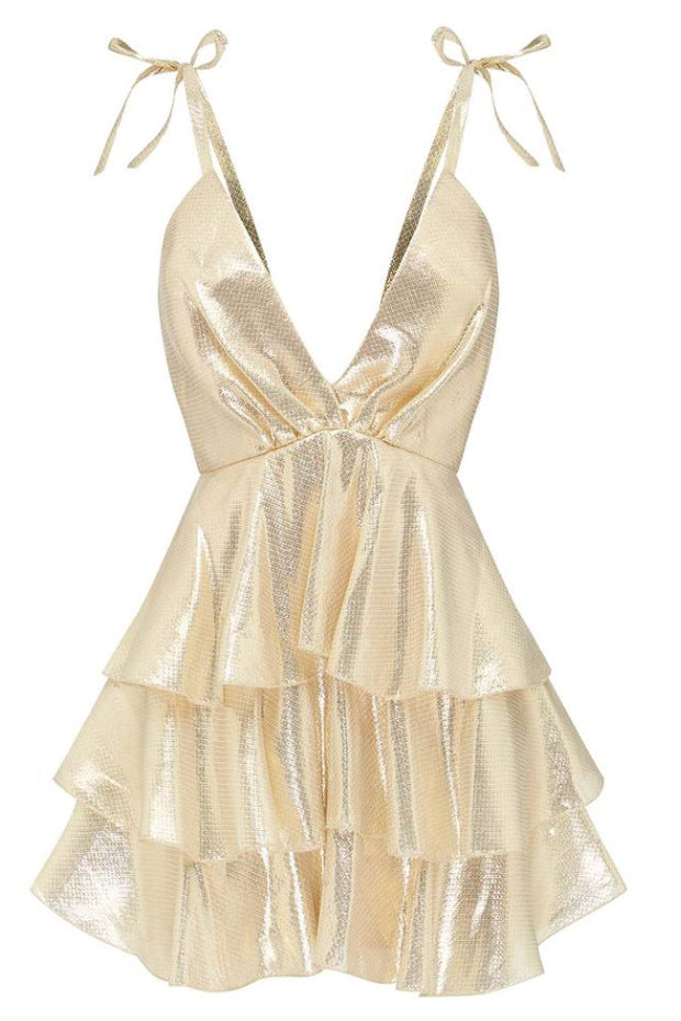 Alice McCall Astral Plane Mini Dress in Gold
