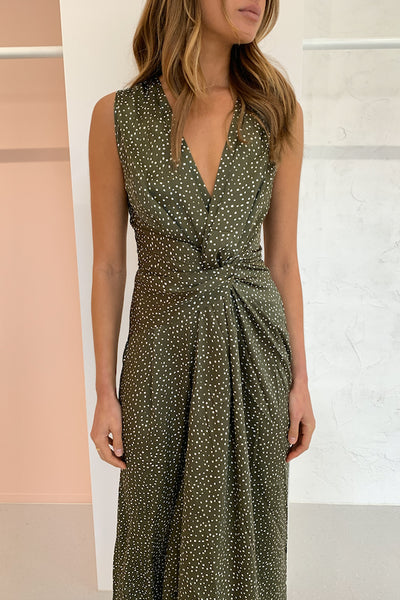 Acler Doheny Jumpsuit in Khaki Pebble