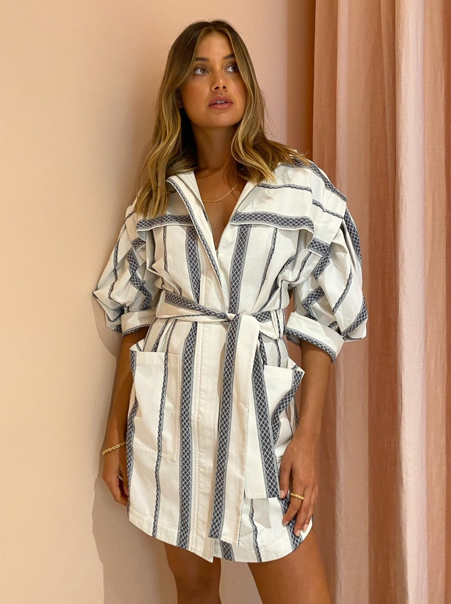 Acler Kingsway Dress in Ink Stripe