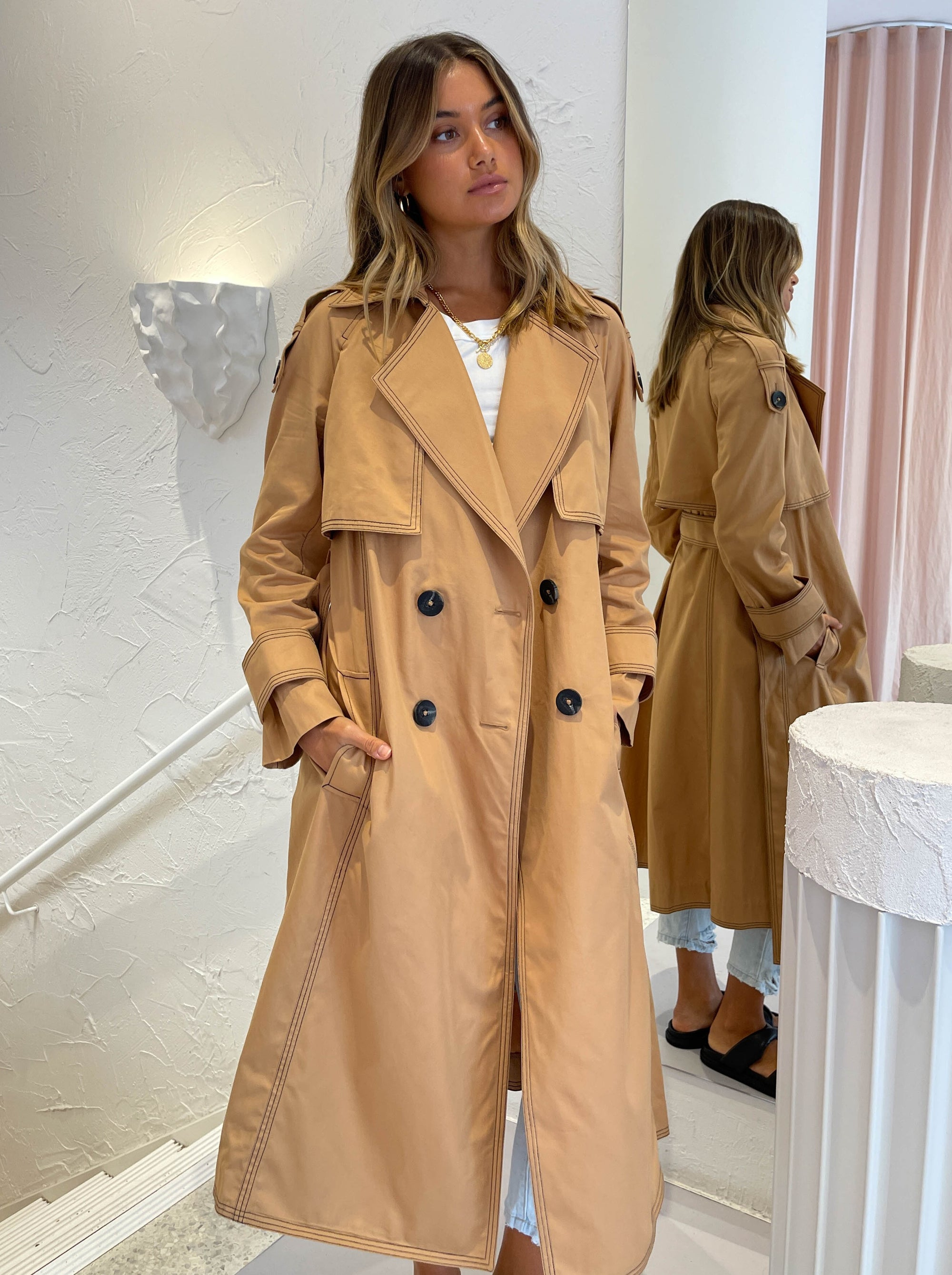 Acler Saratoga Trench in Biscuit