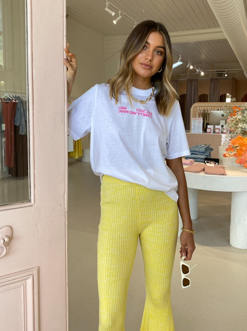 Camilla and Marc Emil Logo Tee in White