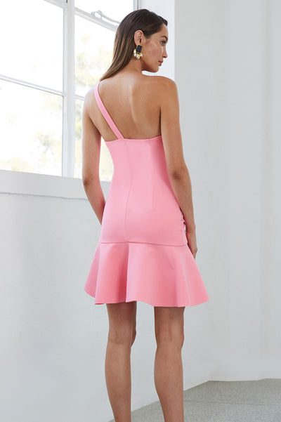 By Johnny Asymmetric Tulip Mini Dress in Lady Pink