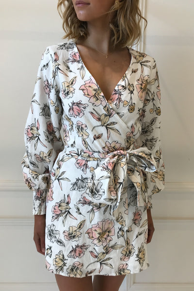 By Nicola Snow Queen Wrap Dress in White Winter Floral