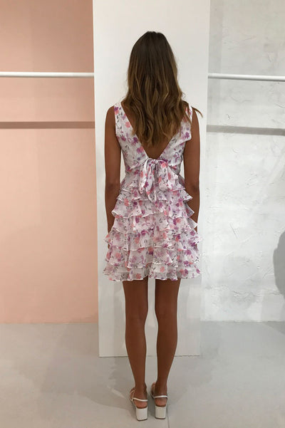 By Nicola Milly Tiered Mini Dress in Violet Bloom