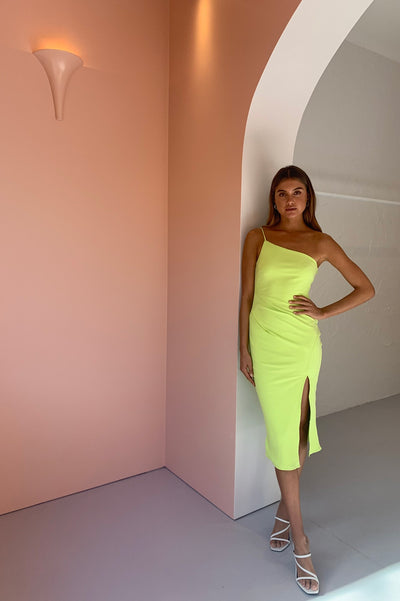 By Nicola Riviera Ribbed One Shoulder Midi Dress in Citrus