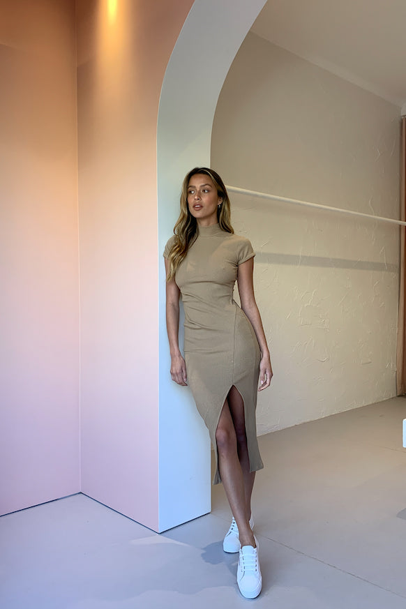 By Nicola Milly Ribbed Midi Dress in Camel