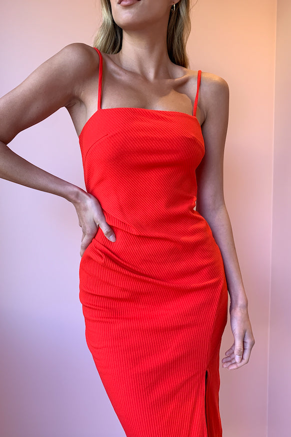 By Nicola Lilly Ribbed Midi Dress in Red