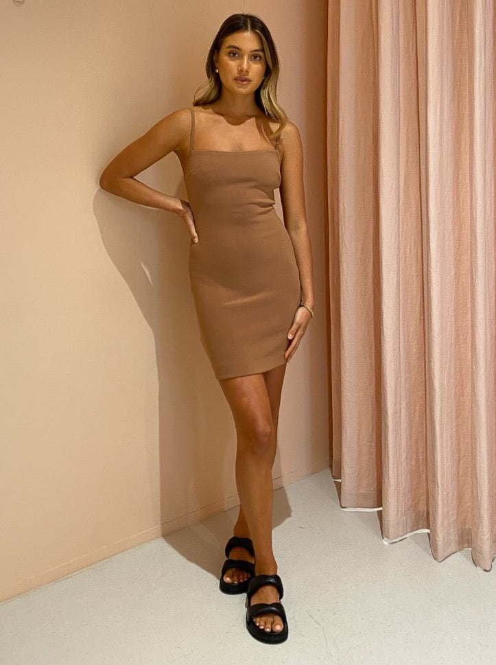 Bec & Bridge Maddison Mini Dress in Milk Chocolate
