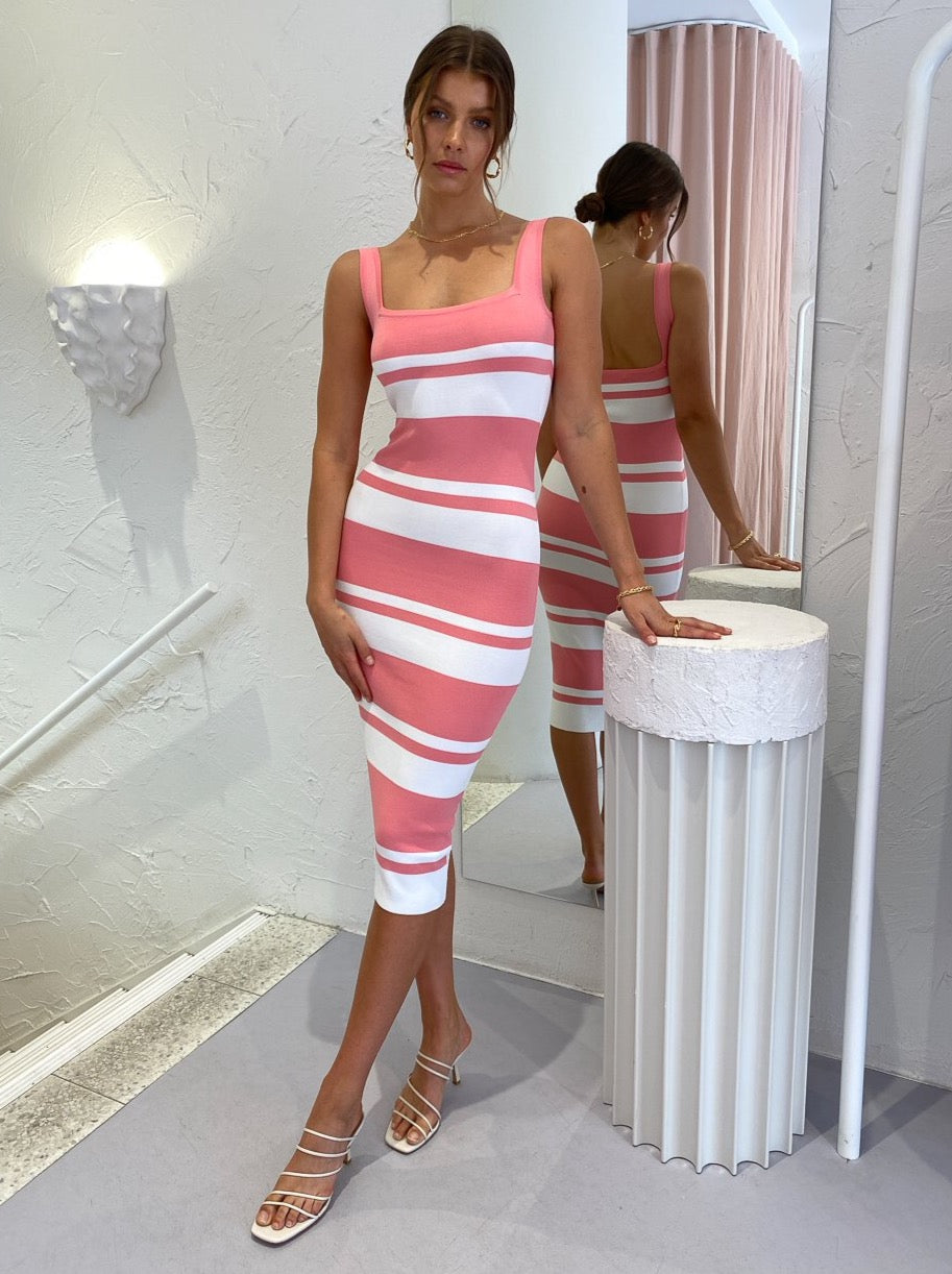 By Johnny Double Stripe Square Neck Dress in White Pink
