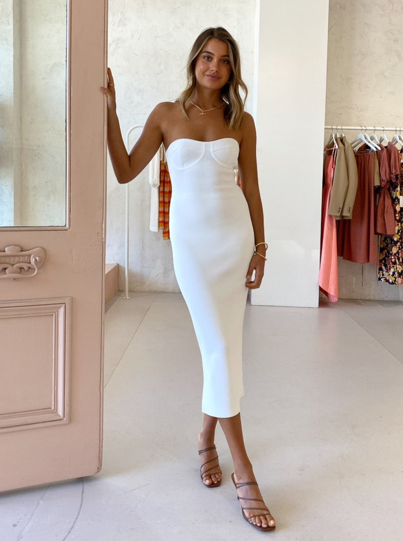 By Johnny Penny Strapless Dress in White