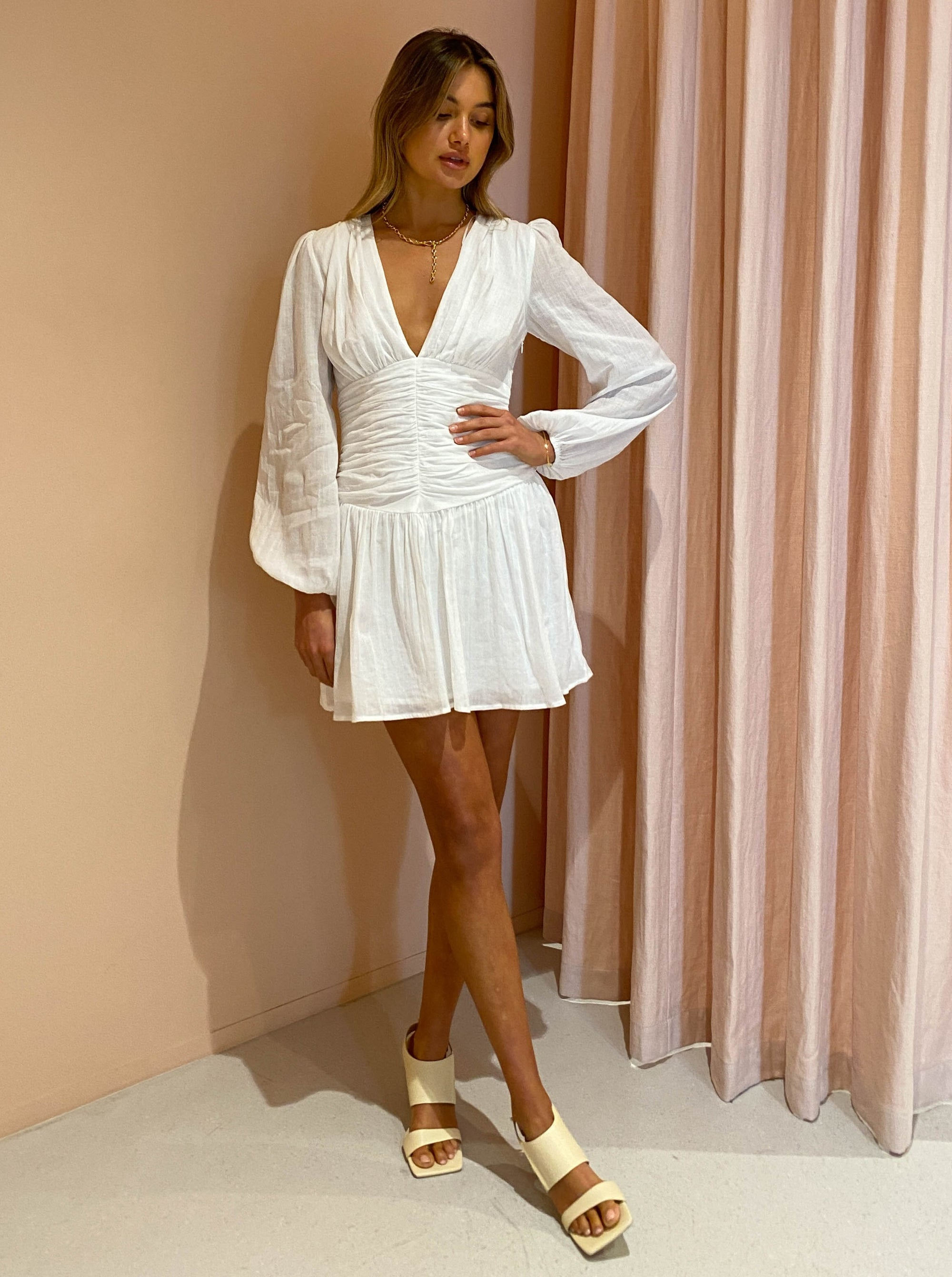 By Nicola Limoncello L /S Mini Dress in White