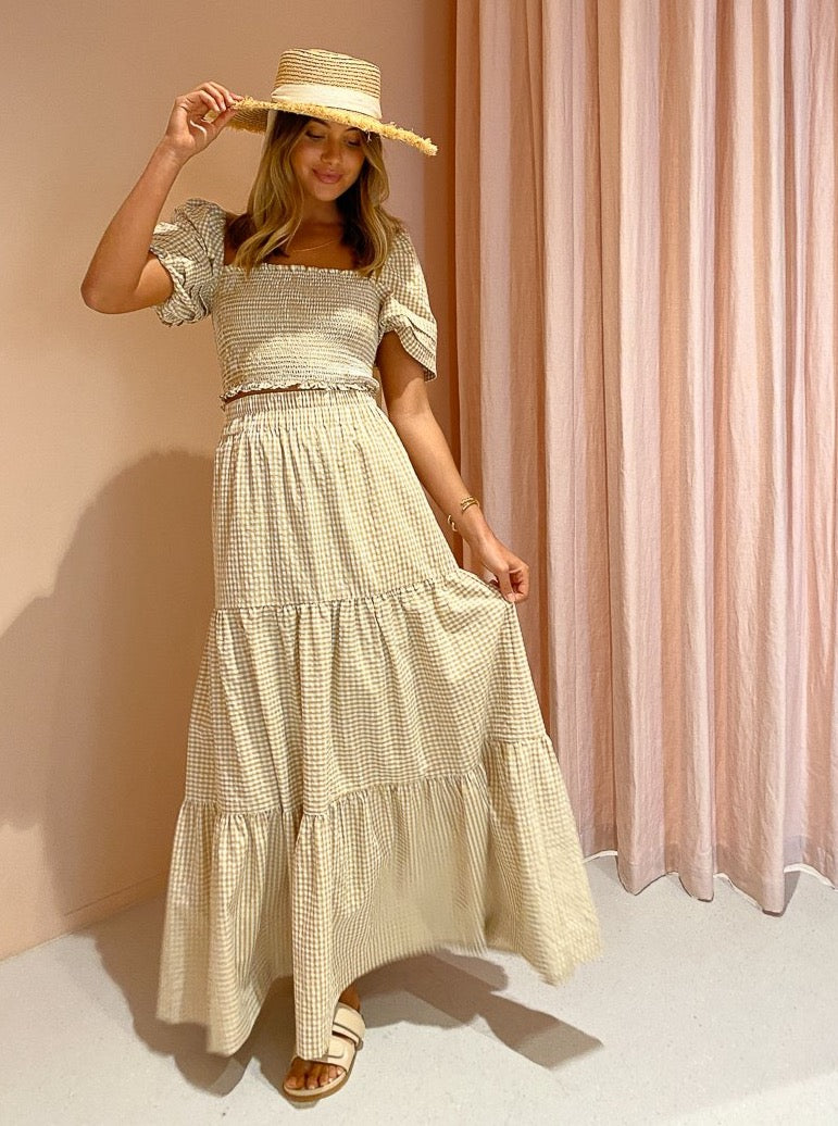 By Nicola Elderflower Maxi Skirt in Mustard Check