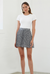 By Johnny Checked Pleats Mini Skirt in Black/White