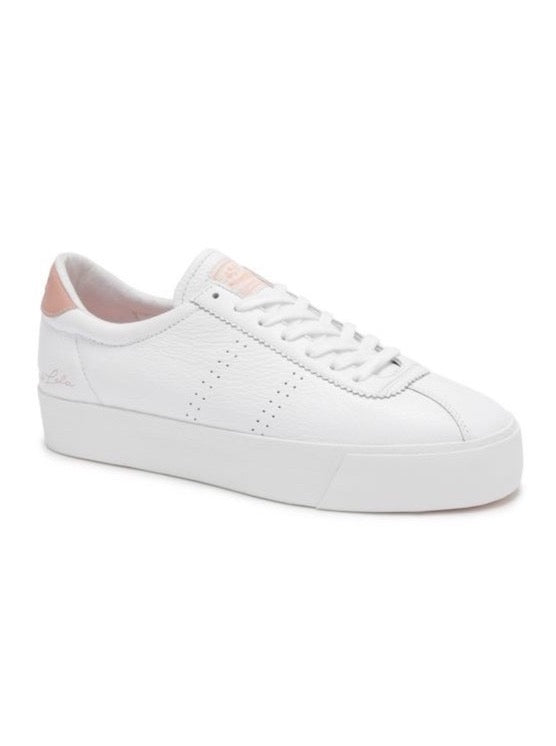 Superga x Coco Clubs 3.0 Leather Sneaker in White/Pink