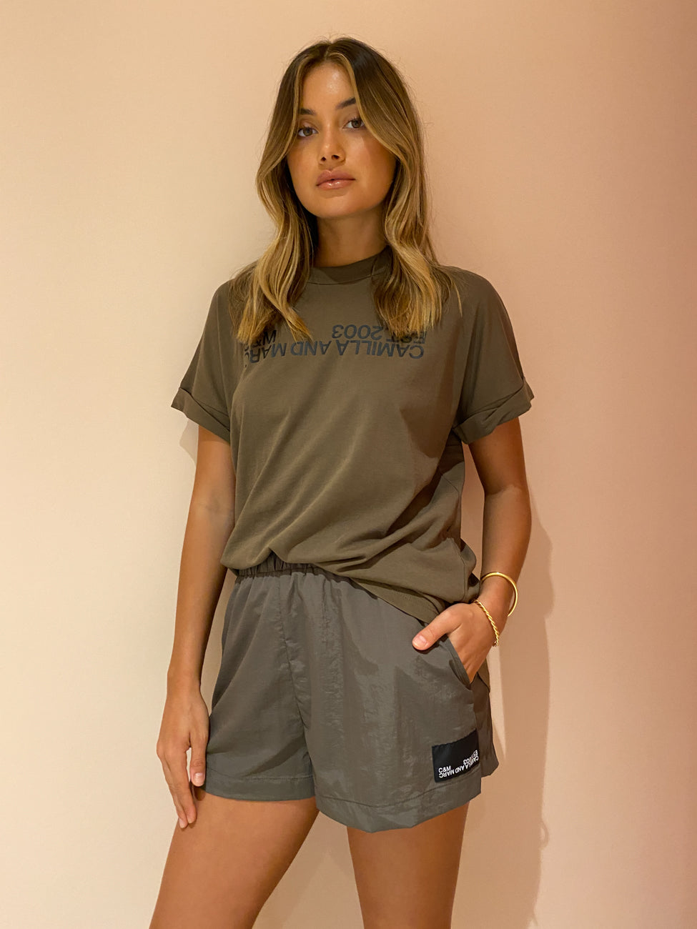 Camilla and Marc Hunter Track Short in Dark Khaki