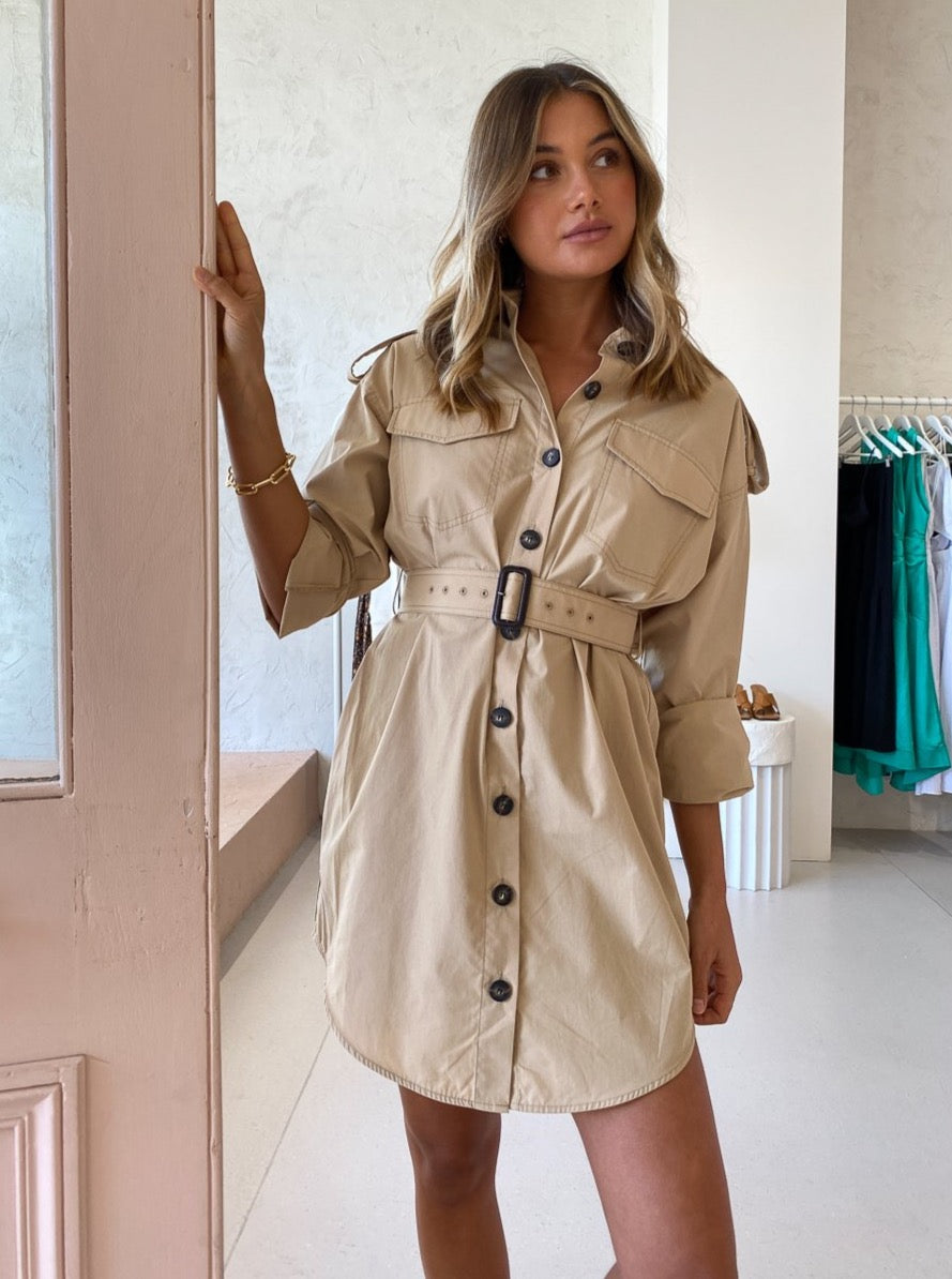 Camilla and Marc Frank Mini Shirt Dress in Sand