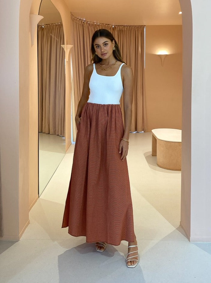 Camilla and Marc Vega Check Midi Skirt in Pink/Brown Check