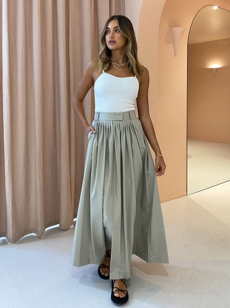 Camilla and Marc Frost Pleat Maxi Skirt in Oyster