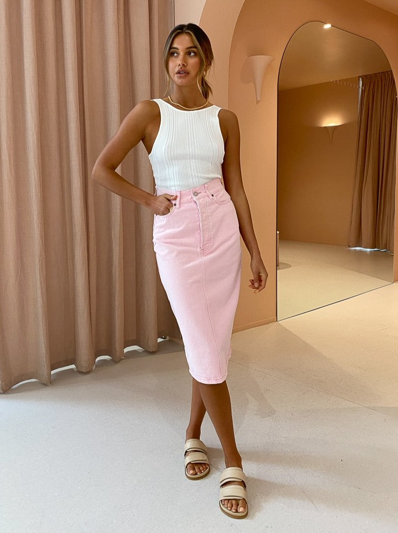 Camilla and Marc Penelope Midi Skirt in Ice Pink