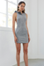 By Johnny Chrome Lurex Bow Mini Shift Dress in Silver