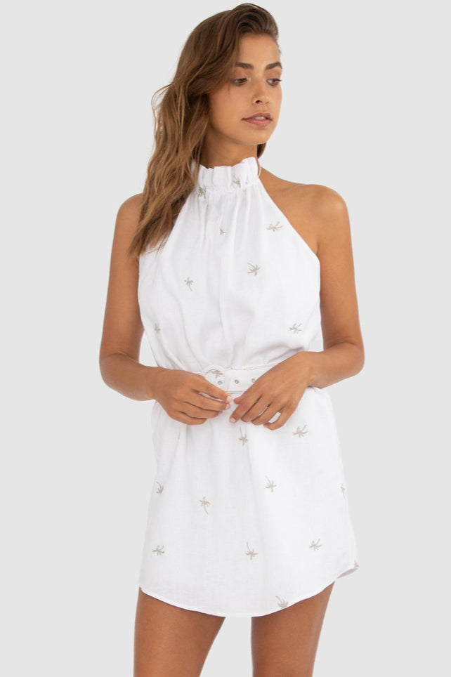 Carver Coquette High Neck Dress in Oyster Palm