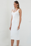 By Johnny Double Rib Midi Dress in White Snow