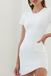 By Johnny Double Rib Mini Dress in White Snow