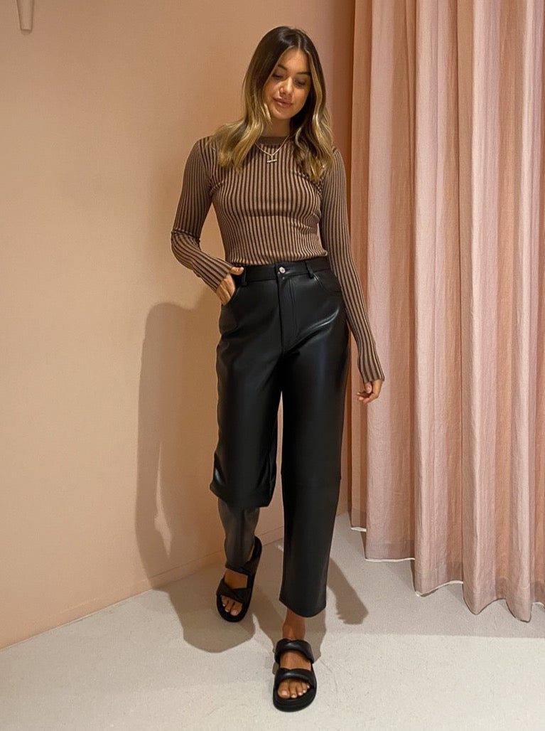 Ena Pelly Straight Leg Leather Pant in Black