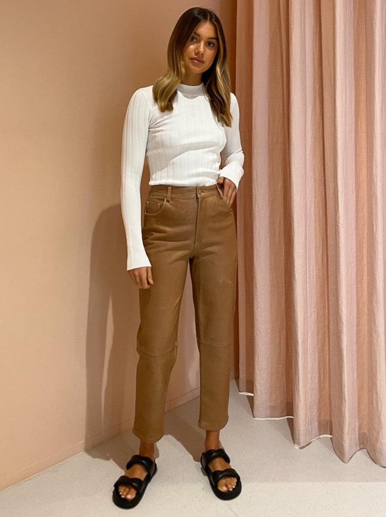 Ena Pelly Straight Leg Leather Pant in Tigers Eye