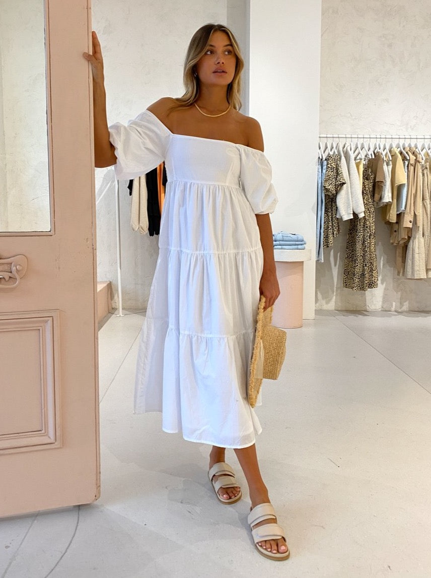 Faithfull the Brand Kiona Midi Dress in Plain White