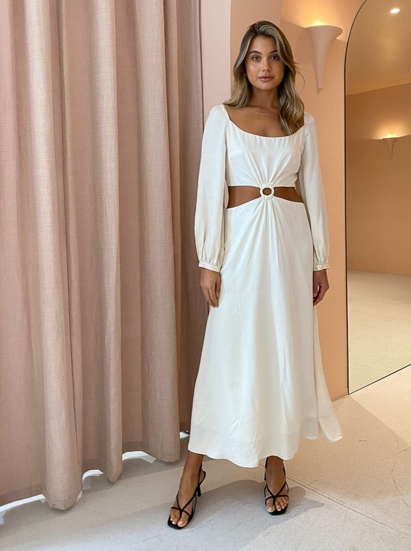 Ginia Sabrina Long Sleeve Dress in Pearled Ivory