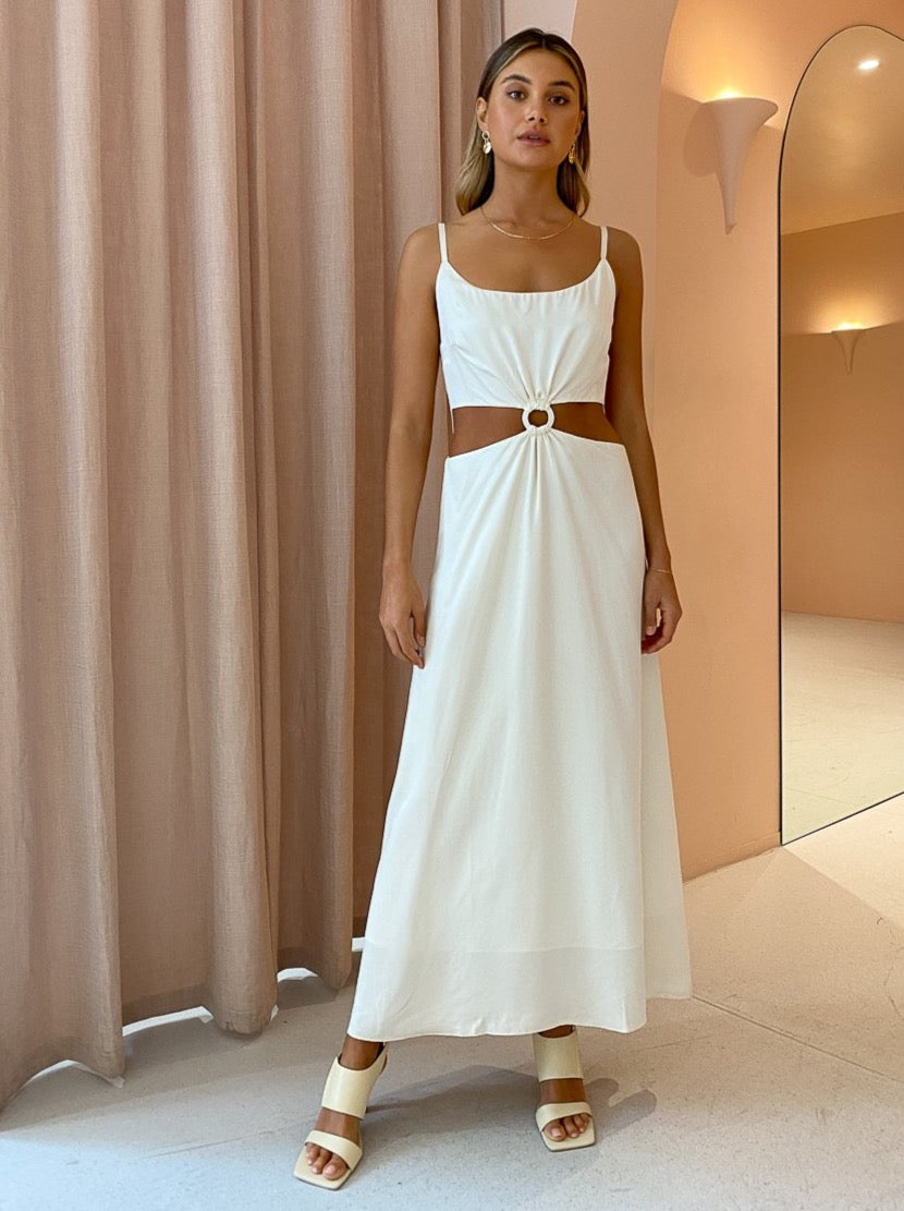 Ginia Sabrina Maxi Dress in Pearled Ivory