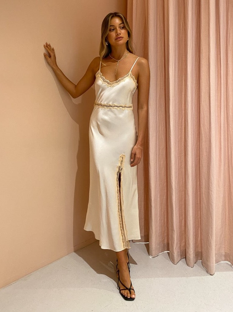Ginia Naomi Slip Dress in Pearled Ivory