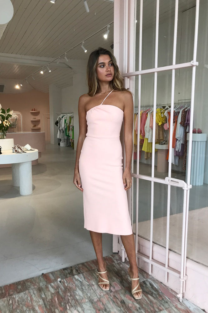 Bec & Bridge Ruby Aysm Midi Dress in Peach